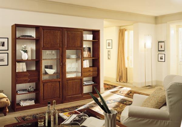 Vetrine alte in legno produzione propria e su misura for Mobili soggiorno classico moderno