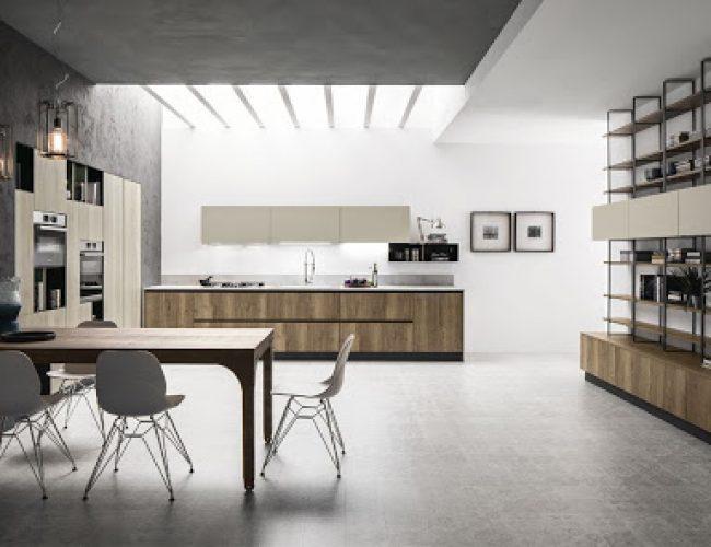 Cucina bicolore effetto legno e corda