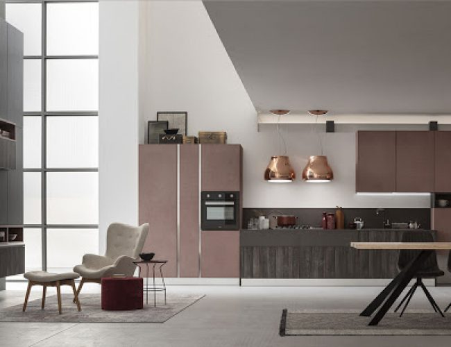 Cucina e soggiorno in open space Modello Lab di Arrex