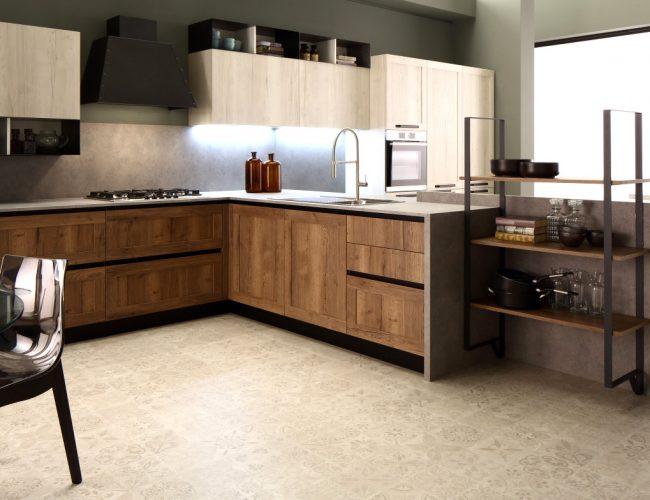 Cucina moderna con gola e dettagli in metallo Iside di Arrex