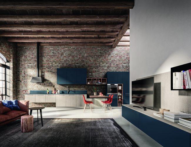 cucina con ante blu e grigio chiaro