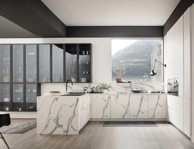 LOFT URBAN cucina con finitura marmo bianco calacatta