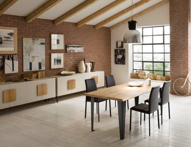 Madia moderna con piedini e tavolo design industriale con gambe antracite modello Silvis