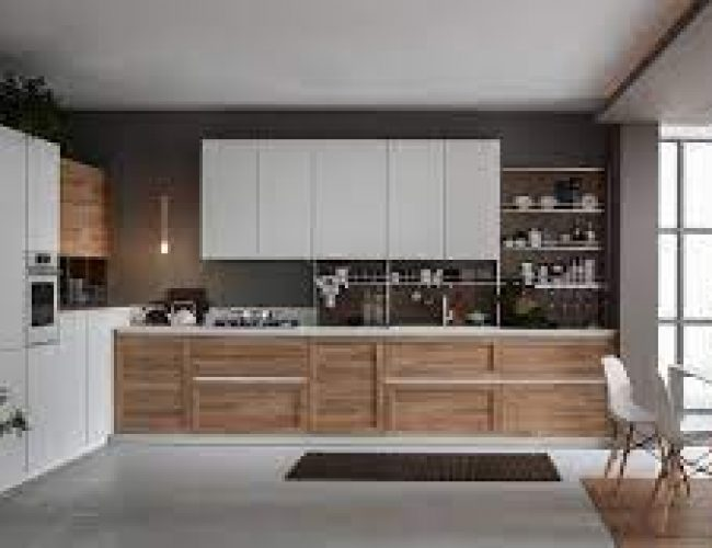TWIN cucina con anta telaio contemporaneo colore natura e bianco liscio