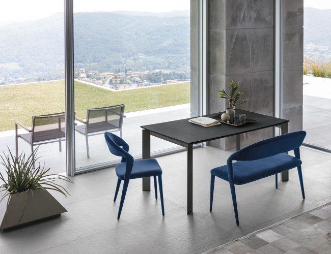 Tavolo rettangolare da cucina o living colore grafite