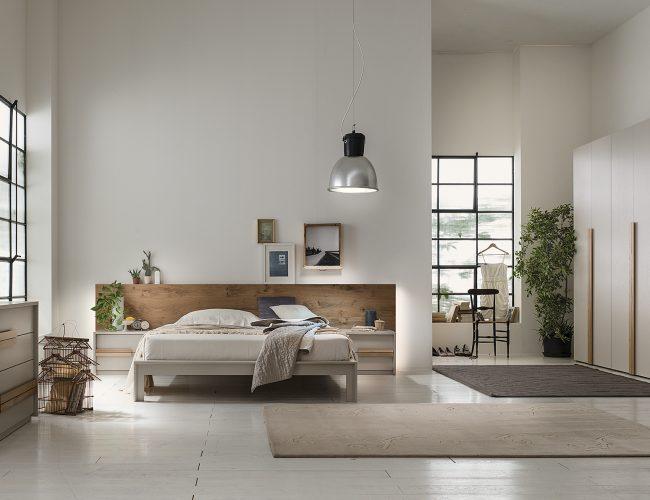 camera design industriale con legno rovere naturale