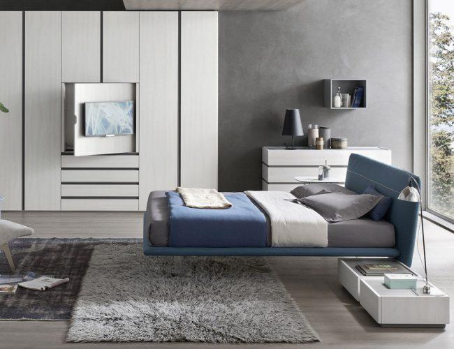 camera moderna bianco effetto legno con tv nascosta Orme Design da Paola Elisa Mobili