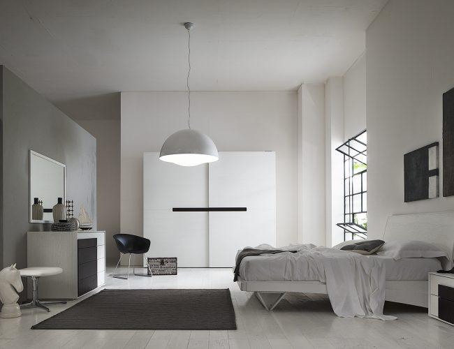 camera moderna laccata bianca con particolari