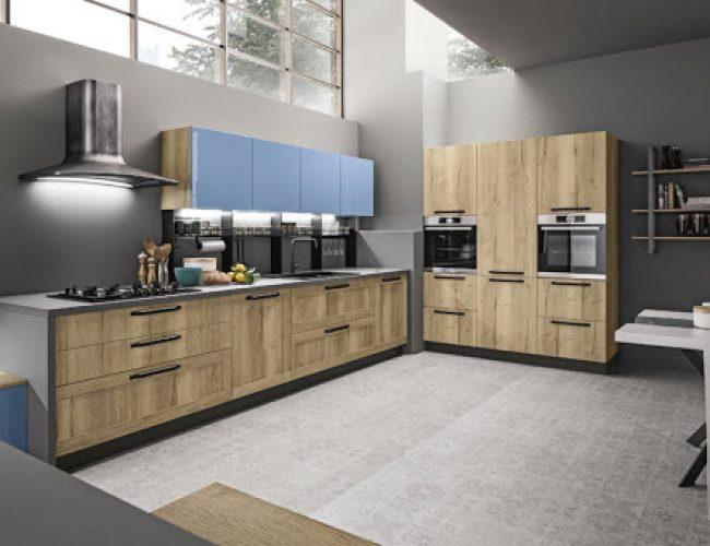 cucina effetto legno e laccato Iside e Regina Arrex cucine