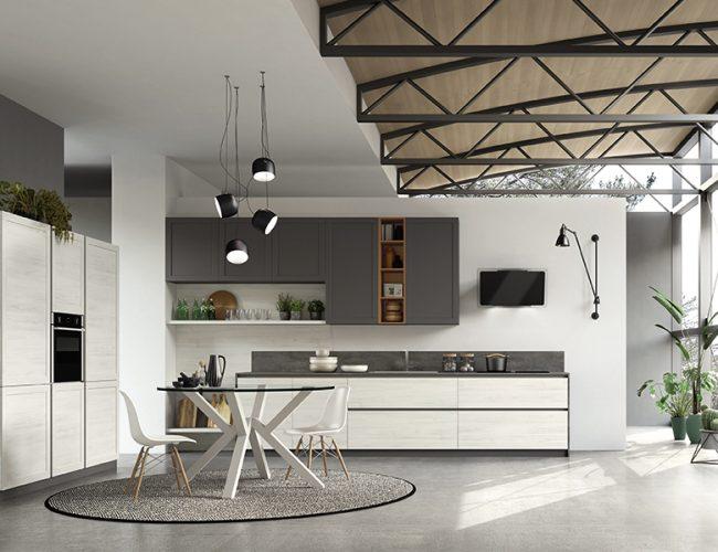 cucina moderna con contrasto di colore bianco e grigio_modello Twin