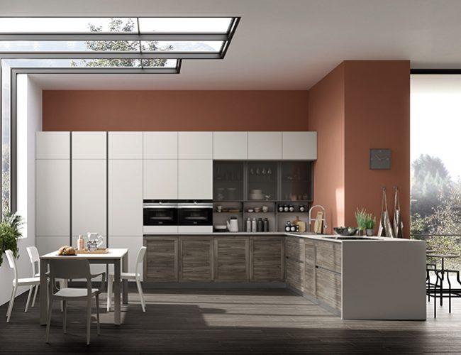 cucine a misura_effetto legno abbinato a grigio chiaro modello Twin