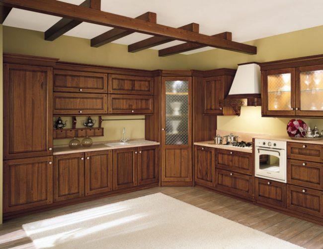 tiffany-cucina angolare legno-noce-massiccio-