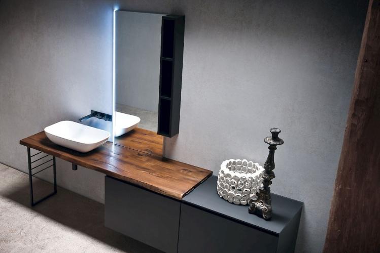 Jacana - bagni Compab - con piano in legno e vasca in ceramica