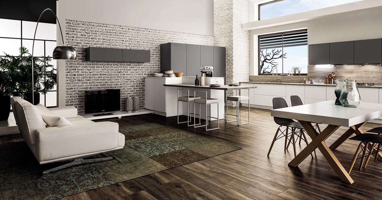 Come arredare open space con cucina e soggiorno moderni_Paola Elisa Mobili