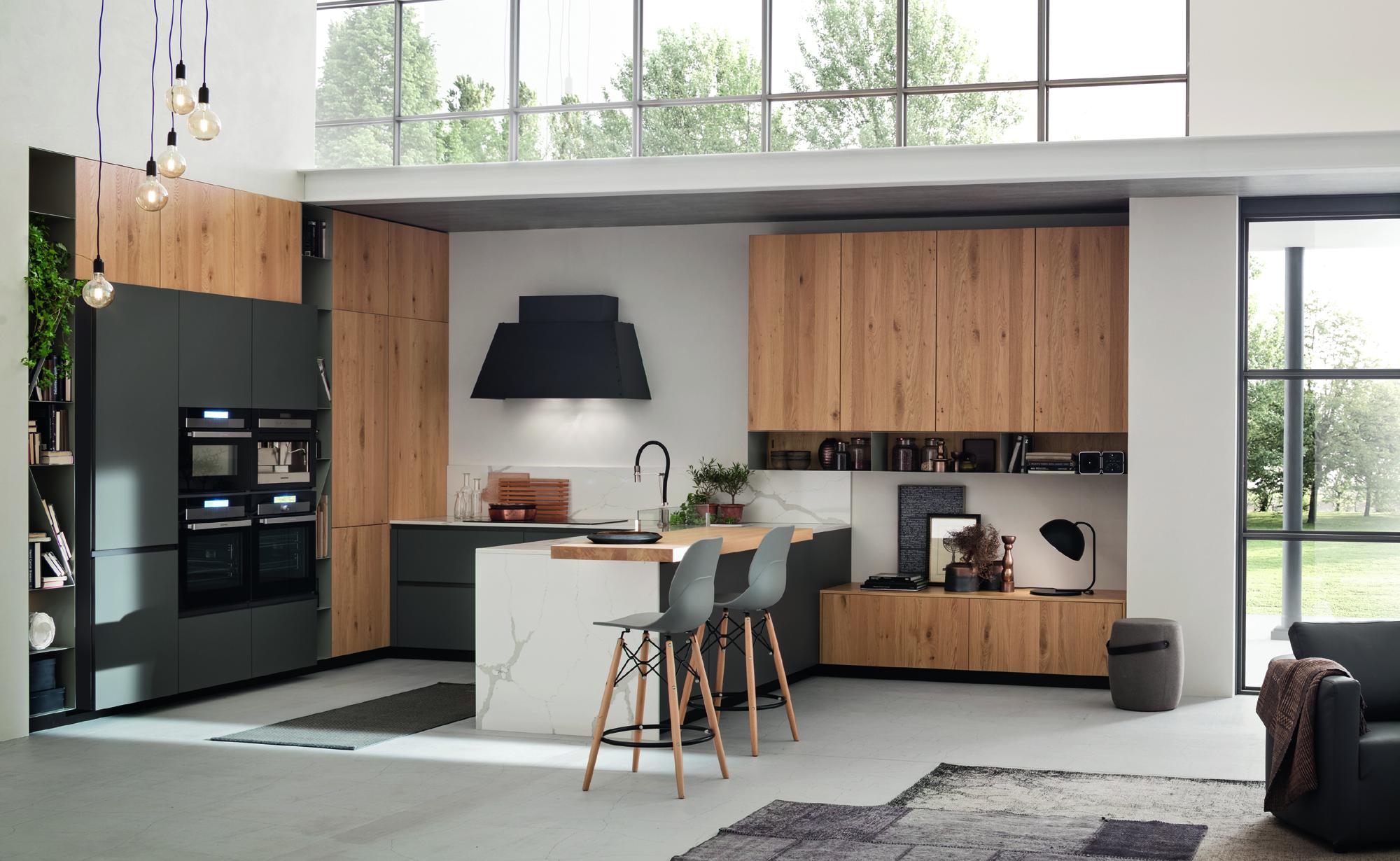 cucina in legno naturale e grigio Loft da Paola Elisa Mobili